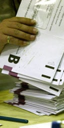 Counting postal votes in north-west England. Photograph: Don McPhee.