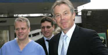 Tony Blair on a visit to the London Chest Hospital on January 5 2006. Photograph: Kirsty Wigglesworth/AP.
