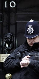 A police officer outside 10 Downing Street on Thursday February 1 2007. Photograph: Andrew Parsons/PA Wire.