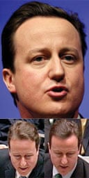 David Cameron, clockwise from top: a Michael Portillo-esque quiff, his new left-side parting, and his old parting. Photographs: Andrew Parsons/PA.