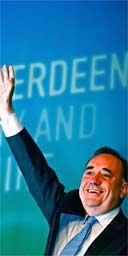 SNP leader Alex Salmond celebrates victory in his Gordon seat