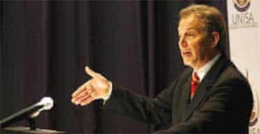 Tony Blair addresses the UNISA School of Business near Johannesburg, South Africa