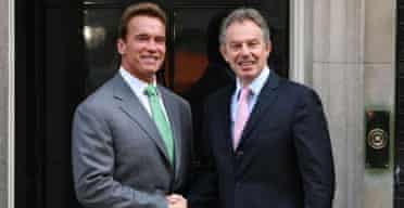 Arnold Schwarzenegger and Tony Blair meet outside Downing Street on June 26 2007. Photograph: Johnny Green/PA Wire.