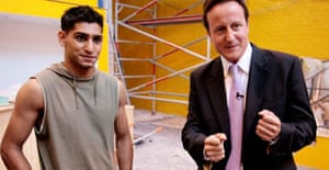 Amir Khan and David Cameron in Bolton on September 6 2007. Photograph: Andrew Parsons/PA.