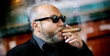 George Galloway smoking a cigar on September 4 2007. Photograph: Graeme Robertson.