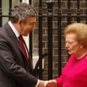 Lady Thatcher and Gordon Brown at Downing Street. Photograph: John Stillwell/PA.