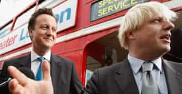 David Cameron and Boris Johnson in London on September 27 2007 following Mr Johnson's election as Conservative candidate for London mayor. Photograph: Daniel Berehulak/Getty Images.