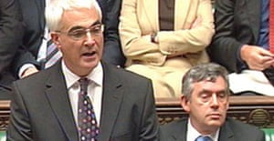 Alistair Darling, the chancellor, delivers his pre-budget report on October 9 2007. To his left is the prime minister, Gordon Brown. Photograph: PA.