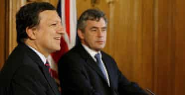 Jose Manuel Barroso and Gordon Brown on October 11 2007. Photograph: Richard Lewis/EPA/Pool