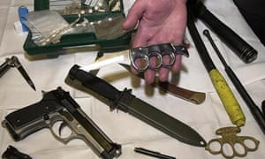 Guns, knives, and other weapons on display in London