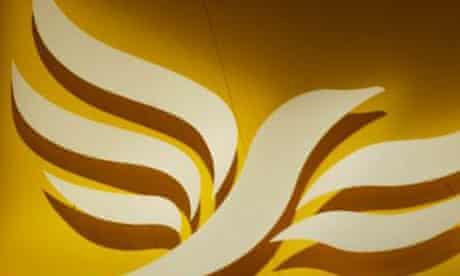 The Liberal Democrat logo, Lib Dem logo, Liberal Democrats logo, at the party's conference in Brighton in 2002. Photograph: Martin Argles