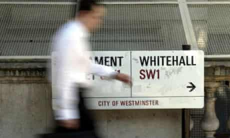 The Whitehall street sign in central London. Photograph: Chris Young/PA