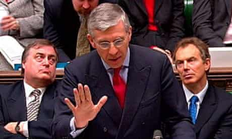 Jack Straw, the then-foreign secretary, opens the debate on war with Iraq in February 2003, as Tony Blair and John Prescott, then the prime minister and deputy prime minister respectively, look on. Photograph: PA