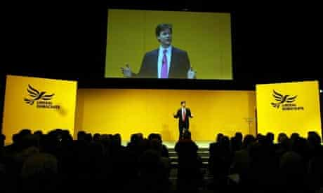 Nick Clegg speaks at the Lib Dem conference in Liverpool