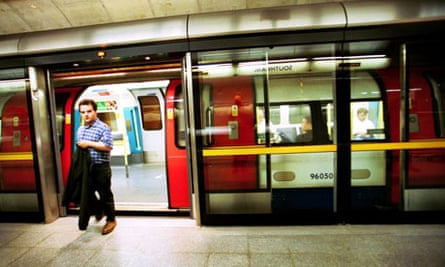 A Jubilee line tube train at Southwark station on the London Underground. Photograph: David Sillitoe