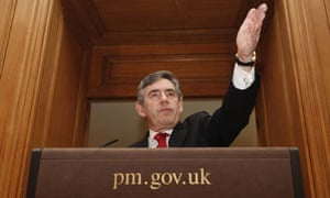 Gordon Brown at his monthly press conference on April 1 2008. Photograph: Stephen Hird/Reuters