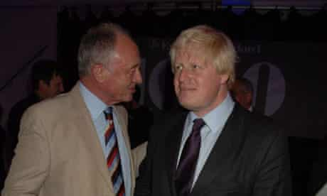 Ken Livingstone and Boris Johnson in London in October 2007. Photograph: Dave M Benett/Getty Images