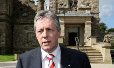 Peter Robinson outside Stormont Castle in Belfast in 2007. Photograph: Paul Faith/PA