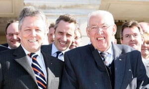 Peter Robinson, the new leader of the DUP, and Ian Paisley, the former leader, at Stormont on April 14 2008. Photograph: Paul Faith/PA Wire