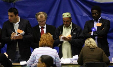 Party adjudicators watch the counting of votes in Birmingham on May 1 2008. Photograph: David Jones/PA