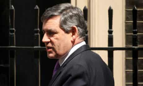 British Prime Minister Gordon Brown leaves 10 Downing Street to attend prime minister's questions on June 11, 2008