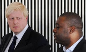 Boris Johnson and Ray Lewis at city hall today. Photograph: Stefan Rousseau/PA