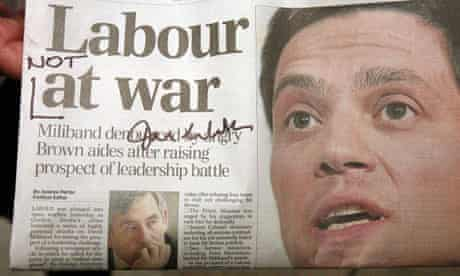 A newspaper signed and altered by David Miliband on July 31 2008. Photograph: Peter Macdiarmid/Getty Images
