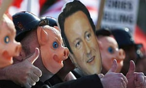 Finance workers from the union Unite protest outside the Conservative party conference
