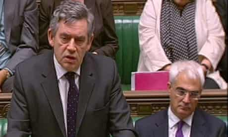 Gordon Brown and Alistair Darling at prime minister's questions on October 8 2008. Photograph: PA Wire
