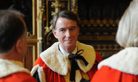 Lord Mandelson takes his seat in the House of Lords on October 13 2008. Photograph: Stefan Rousseau/PA