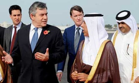 Gordon Brown, Ed Miliband and Peter Mandelson arrive in Doha, Qatar on a four-day, four-country Middle East tour