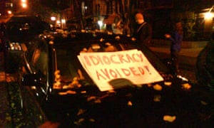 A sign saying 'Idiocracy avoided' on a car at a street party in New York's East Village following Barack Obama's presidential victory on November 4 2008. Photograph: Paul Owen