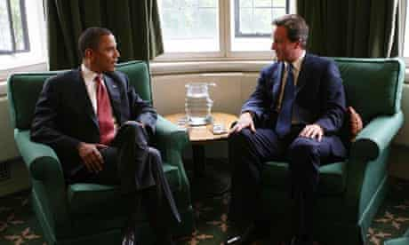 Barack Obama and David Cameron meeting in the Houses of Parliament in July 20088. Photograph: Paul Grover/PA