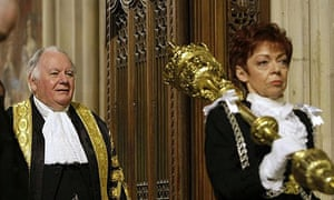 Serjeant at arms Jill Pay leads speaker Michael Martin