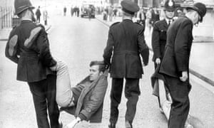 Peter Hain is arrested in Downing Street in 1969. As a student he led the demonstrations that disrupted a Springbok rugby tour of the UK and led to the cancellation of a tour by the South African cricket team in 1970