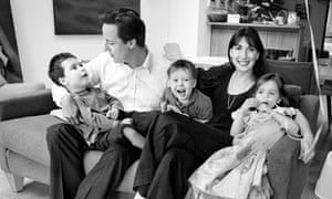 David and Samantha Cameron at home with their children, Nancy, Arthur and Ivan. This image was used on the Conservative leader's 2008 Christmas card. Photograph: Tom Stoddart/Getty Images