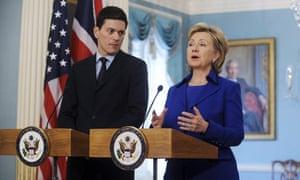 David Miliband and Hillary Clinton speak in Washington on 3 February 2009.
