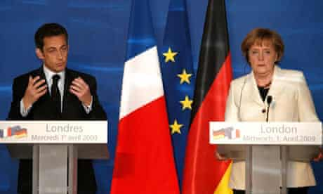 The french president, Nicolas Sarkozy, and the German chancellor, Angela Merkel, in London