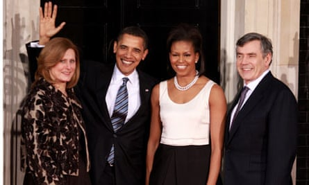 Sarah and Gordon Brown flanking Barack Obama and his wife, Michelle, before dinner at Downing Street