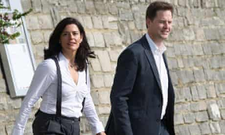 Lib Dem leader, Nick Clegg, and his wife, Miriam Gonzalez Durantez, in Bournemouth today