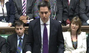 Ed Miliband during prime minister's questions in the House of Commons