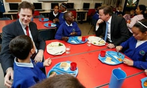 David Cameron and Nick Clegg visiting a school in Nottingham today