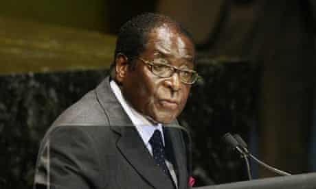 Zimbabwe's president, Robert Mugabe, speaking at the UN in September