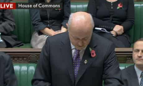 Screengrab from BBC News of Iain Duncan Smith announcing his welfare reforms in the Commons