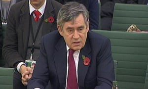 Gordon Brown giving evidence to the international development committee