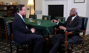 David Cameron and Sir Trevor McDonald