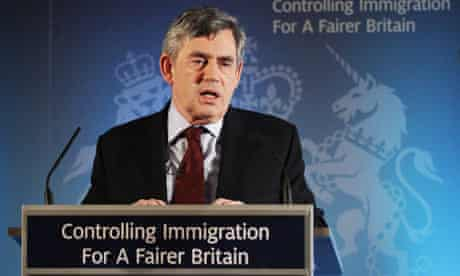 Gordon Brown delivers a speech on immigration