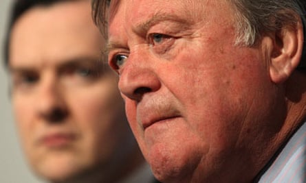 Ken Clarke and George Osbroen at a Conservative party press conference on April 21 2010