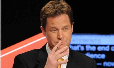 Nick Clegg speaks during the second live leaders' election debate, hosted by Sky News