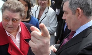Gordon Brown speaks to Gillian Duffy, 65, in Rochdale, whom he later described as a 'bigoted woman'